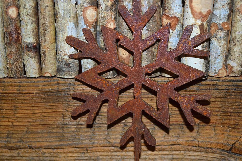 Schneeflocke Edelrost 3D 30 cm Durchmesser Winter Weihnachten Schnee