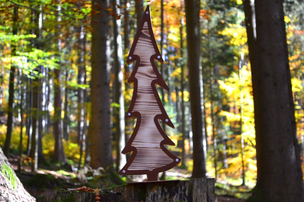 * Metall Rost Halb Kranz Hirsch Tannenbaum Weihnachten Dekoration Garten